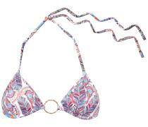 Miami Ring-embellished Printed Triangle Bikini Top