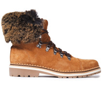 Bowen Faux Fur-trimmed Suede Ankle Boots