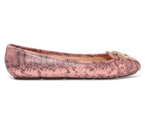 Fulton Snake-effect Leather Ballet Flats Altrosa