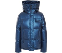Appliquéd Quilted Metallic Shell Hooded Down Jacket