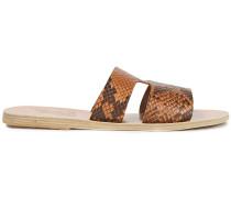 Apteros Snake-effect Leather Slides