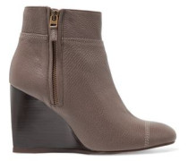 Textured-leather wedge boots