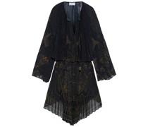 Mehrlagiges Kleid aus Chiffon mit Falten und Print