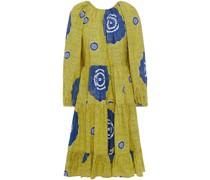 Emelyn Open-back Printed Cotton-poplin Dress