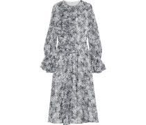 Ruffled Printed Chiffon Midi Dress
