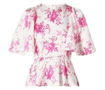 Open-back Floral-print Silk-charmeuse Peplum Top
