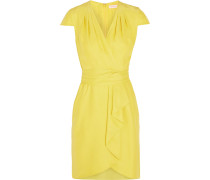 Waterfall Draped Silk Dress Gelb
