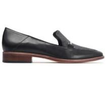 Lois Felt-paneled Leather Loafers Black