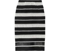 Striped Guipure Lace Midi Skirt Schwarz