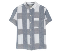 The Emma Checked Linen And Cotton-blend Shirt Blau