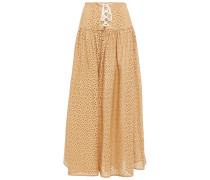 Riviera Lace-up Broderie Anglaise Cotton Midi Skirt
