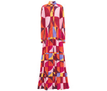 Tiered Printed Crepe De Chine Maxi Shirt Dress