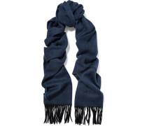 Fringed Herringbone Wool Felt Scarf Mitternachtsblau