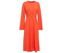 Pleated Stretch-cady Midi Dress