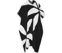 May Jean Printed Silk Crepe De Chine Dress Schwarz