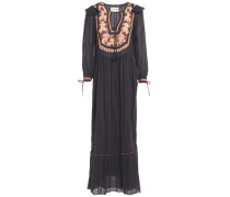 Lova Crochet-trimmed Gathered Cotton-gauze Maxi Dress