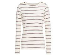 Edie Button-detailed Striped Cotton Top