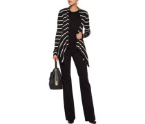 Draped Striped Cotton Cardigan Schwarz