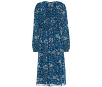 Bedrucktes Kleid aus Georgette mit Rüschenbesatz
