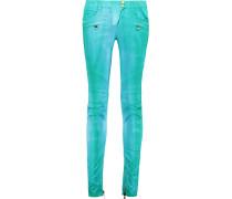 Tie-dye Low-rise Skinny Jeans Türkis