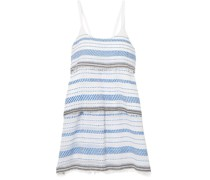 Tiki Tiered Embroidered Cotton-blend Gauze Mini Dress