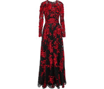 Floral-appliquéd Embroidered Tulle Gown