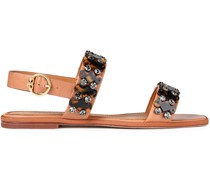 Slingback-sandalen aus Leder mit Verzierung