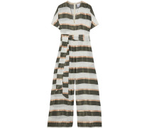 Rosetta Belted Striped Gauze And Satin Wide-leg Jumpsuit