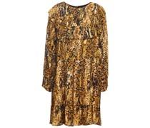 Minikleid aus Jacquard mit Rüschenbesatz und Schlangenprint