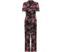 Belted Printed Cotton And Silk-blend Jumpsuit Black