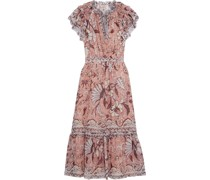 Celestia Ruffled Printed Fil Coupé Silk And Lurex-blend Midi Dress