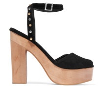 Flash Studded Suede Platform Sandals Schwarz