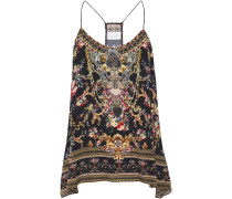 Woman Crystal-embellished Printed Silk Crepe De Chine Camisole Black
