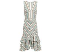 Tiered Striped Cotton-piqué Dress