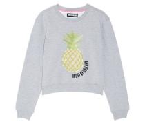 Embellished Cotton-blend Jersey Sweatshirt Grau