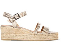 Boria python-effect leather espadrille wedge sandals