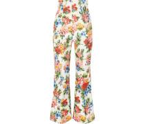 Sammy Floral-print Basketweave Flared Pants Mehrfarbig