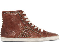 Kira Studded Textured-leather Sneakers Brown