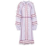 Alexa Broderie Anglaise-trimmed Checked Cotton-gauze Midi Dress