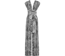 Open-back Leopard-print Silk Jumpsuit Mehrfarbig