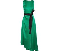 Asymmetric Wrap-effect Satin Midi Dress