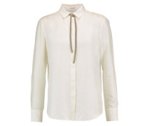 Chain-trimmed pussy-bow silk blouse