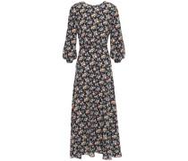 Woman Cutout Floral-print Silk Crepe De Chine Midi Dress Black