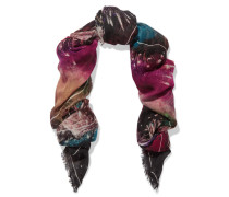 Frayed Printed Cashmere And Silk-blend Scarf Mehrfarbig