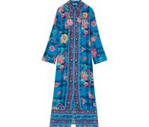 Bedrucktes Hemdkleid in Midilänge aus Crêpe De Chine aus Seide mit Floralen Applikationen