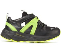 Neon-trimmed Cutout Leather And Mesh Sneakers