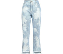 Woman Embroidered Distressed Mid-rise Boyfriend Jeans Sky Blue