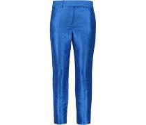 Slub Satin Straight-leg Pants Königsblau