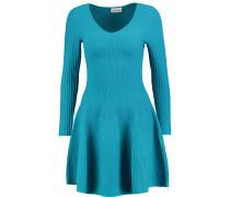 Flared Ribbed-knit Mini Dress Türkis