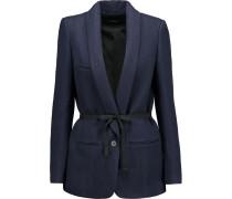 Haylee Linen And Wool-blend Gabardine Jacket Mitternachtsblau